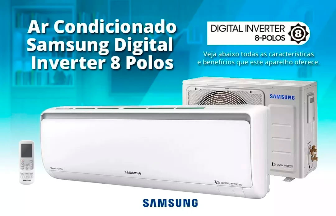 6ded9eb45 Split Hi Wall Inverter Samsung Digital 8 Polos O design diferenciado do Ar  Condicionado ...
