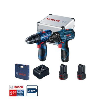 Combo-12V-Bosch-Chave-de-Impacto-GDR-120-LI---Parafusadeira-GSR-120-LI-2-Baterias-Carregador-Bivolt-Kit-de-Acessorios-em-Maleta-de-aluminio